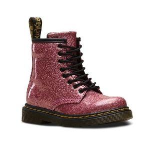 Girls Dr. Martens Glitter Side Zip Combat Boots